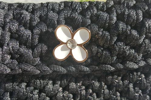 FLOR para coser en DORADO, blanco y con CRISTAL SWAROVSKI mediana 18 mm