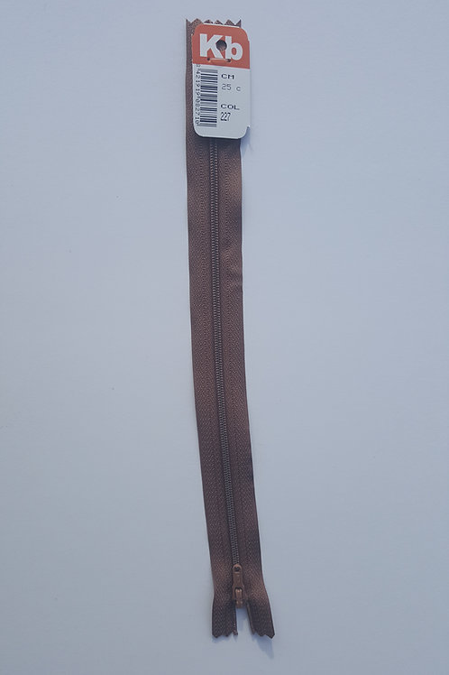 Cremallera marrón 25 cm KB