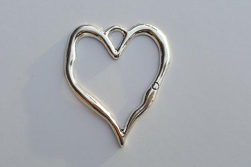 Corazón plateado 8 cm