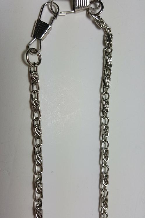Asa cadena de 1.20 metros color plateada de anillas de 1 cm en forma retorcida