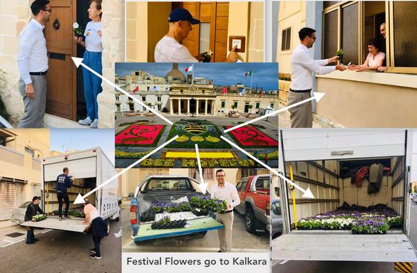 Green Festival Flowers go to Kalkara
