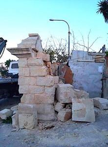 Vandalism on an old column