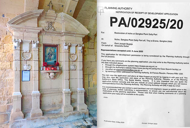 Restoration of the niche of Our Lady of Porto Salvu