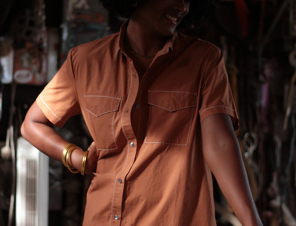 Robe chemise Country Camel