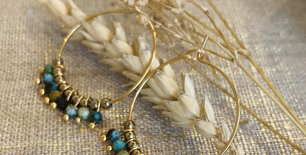 Boucles d'oreilles Lilou Bleu/Vert