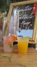 Vanessa Chantal signature cocktails Paloma & Mango Margarita at a wedding at the Reptacular Ranch in Sylmar, Ca.