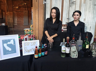 Vanessa Chantal bartending a wedding with 400 guests at 440Seaton in Los Angeles, Ca