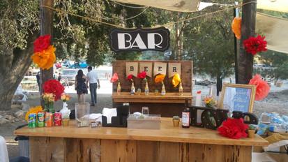 Bar setup at a wedding with 100 guests at the Reptacular Ranch in Sylmar, Ca.