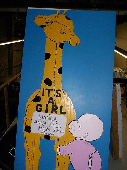 Girl Giraffe Lawnsign