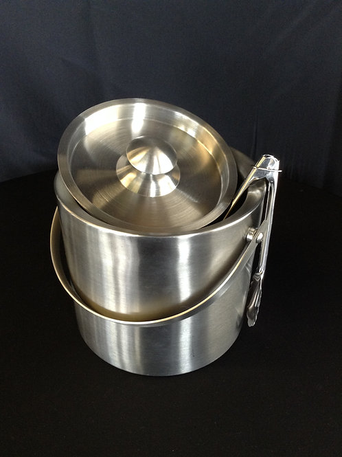 Stainless Ice Bucket w/ Tongs