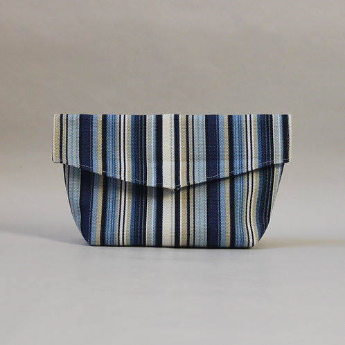 Large Popper Pouch - Blue Stripe