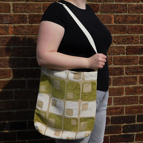Large Handbag - Lime Green & Cream Retro Squares