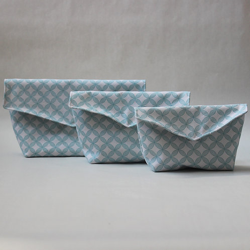 Three Piece Popper Pouch Set - Mint Green Geometric