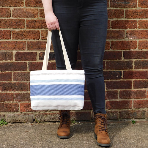 Landscape Tote Bag - Blue, Beige & White Stripe