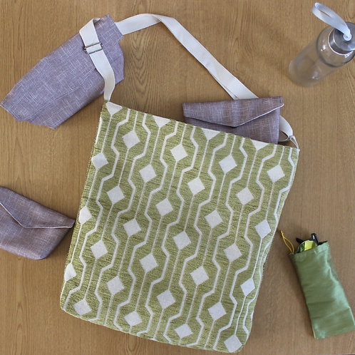 Large Handbag -  Lime Green Geometric