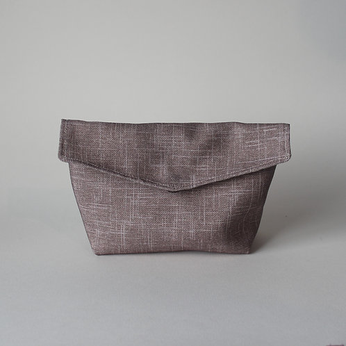 Medium Popper Pouch - Subtle Beige Crosshatch