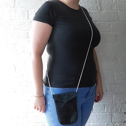 Small Messenger Style Handbag with Cord Strap - Charcoal with Blue Flecks