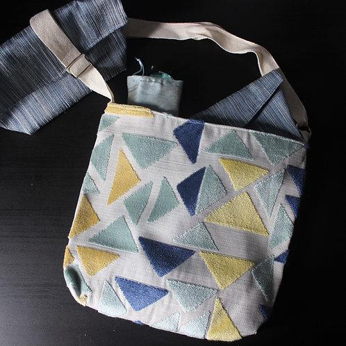 Medium Handbag - Blue and Yellow Triangle Geometric