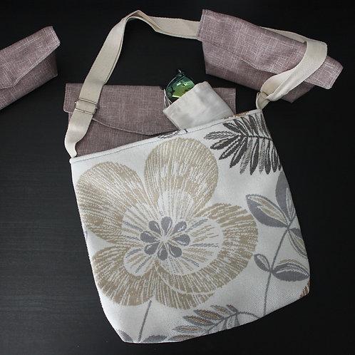 Medium Handbag - Cream and Grey Flower