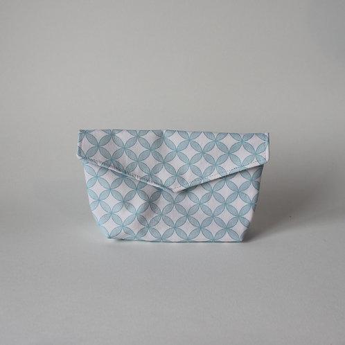 Small Popper Pouch - Mint Green Geometric