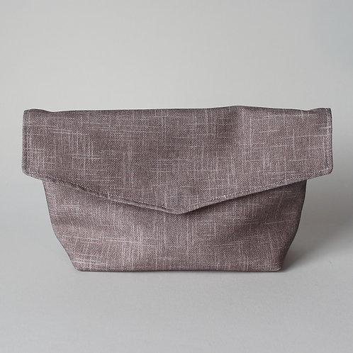 Large Popper Pouch - Subtle Beige Crosshatch
