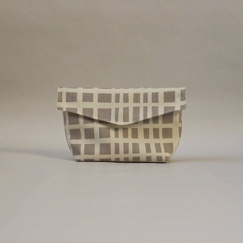 Medium Popper Pouch - Cream & Beige Crosshatch