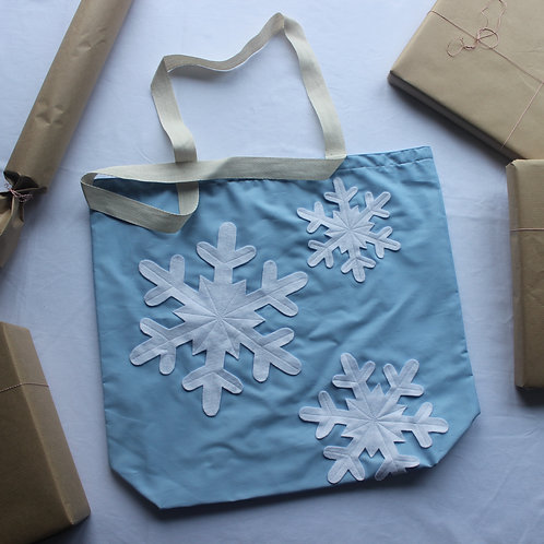 Blue Snowflakes Christmas Gift Bag