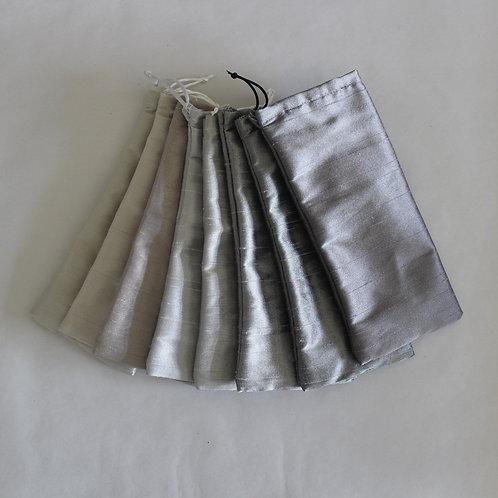 Grey/Silver Drawstring Glasses Cases