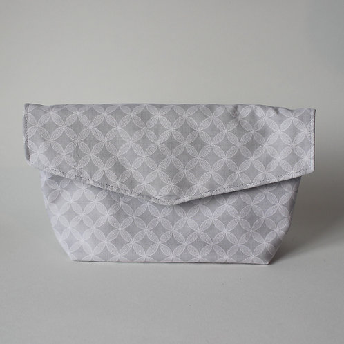 Large Popper Pouch - Light Grey Geometric