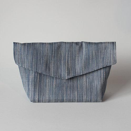 Large Popper Pouch - Subtle Blue Stripe