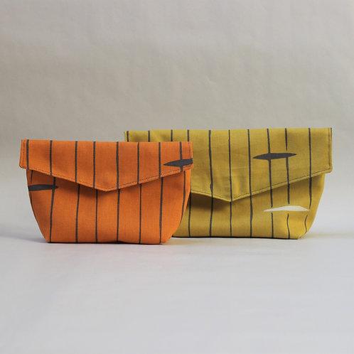 Two Piece Popper Pouch Set - Mustard Stripe and Orange Stripe