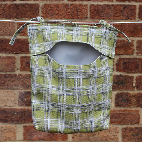 Lime Green Check Peg Bag