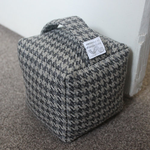 Cube Doorstop - Blue Houndstooth