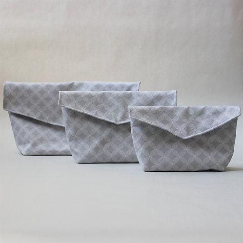 Three Piece Popper Pouch Set - Grey Geometric