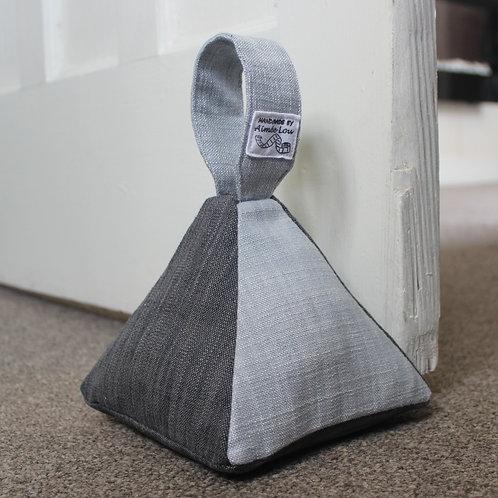 Pyramid Doorstop - Pale Blue & Grey