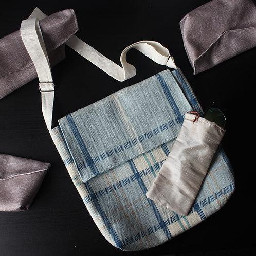 Medium Messenger Style Handbag -Pale Blue Check