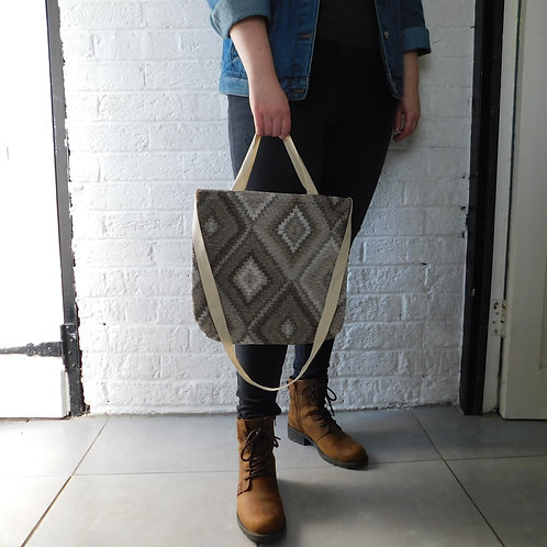 Tote Bag - Brown/Beige Diamond - Fully Lined