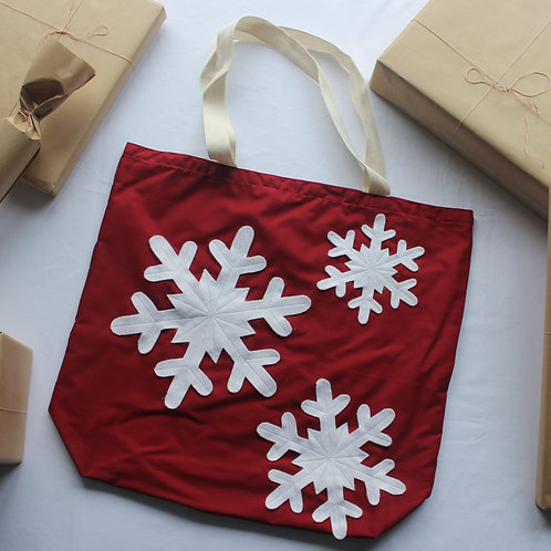 Red Snowflakes Christmas Gift Bag