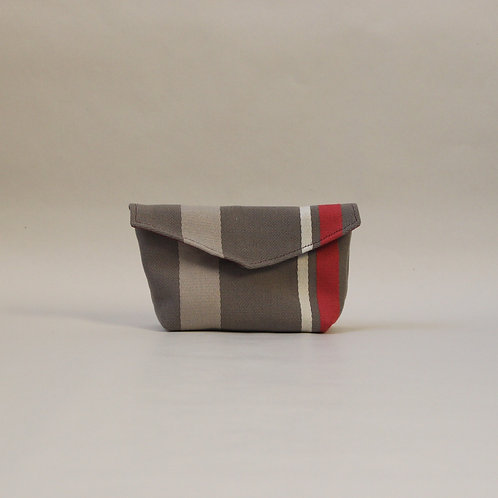 Small Popper Pouch - Brown with Burgundy Stripe