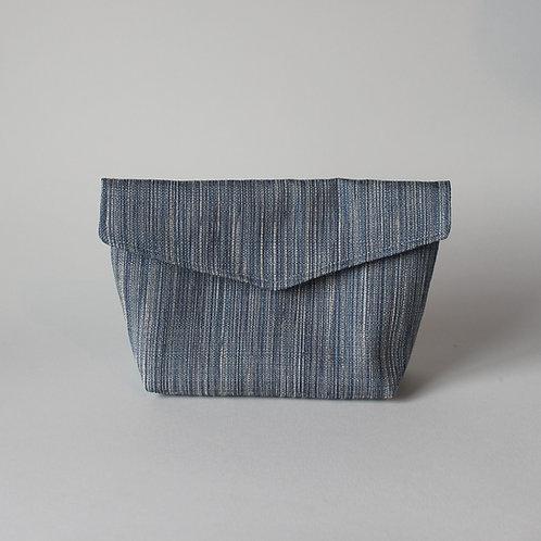 Medium Popper Pouch - Subtle Blue Stripe