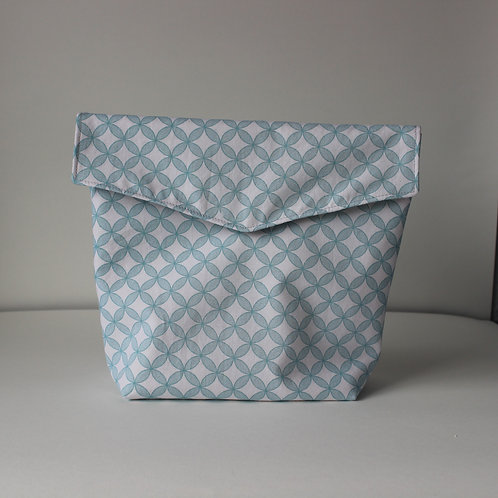 Extra Large Popper Pouch - Mint Green Geometric