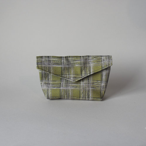 Small Popper Pouch - Lime Green Check