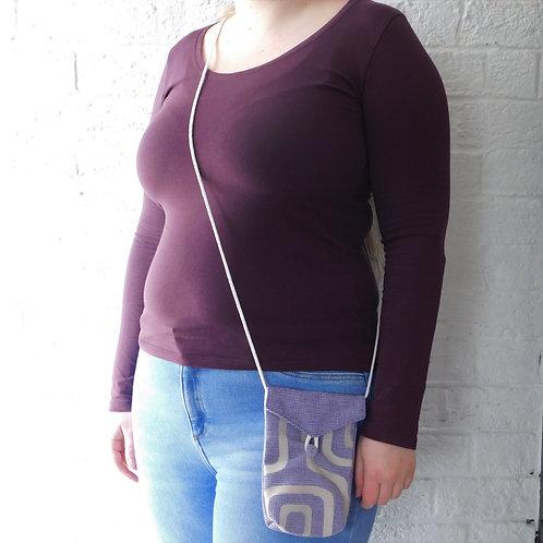 Small Messenger Style Handbag with Cord Strap- Lilac Geometric