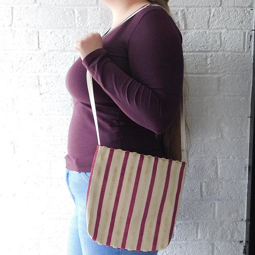 Medium Handbag - Cream and Pink Stripe
