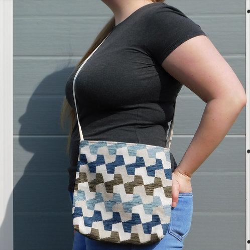 Medium Handbag - Blue and Brown Geometric