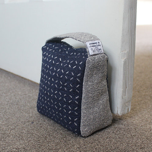 Wedge Doorstop - Navy & Grey Pattern