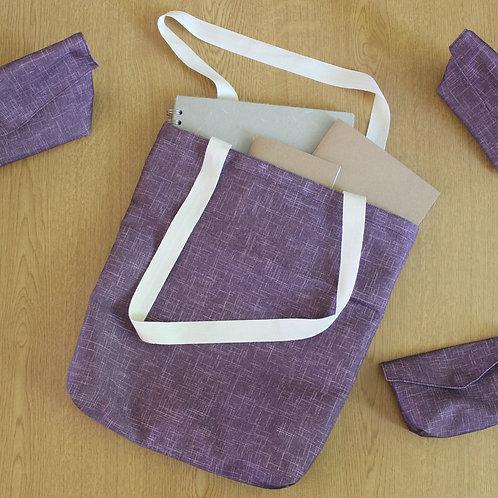 Tote Bag - Subtle Purple Crosshatch