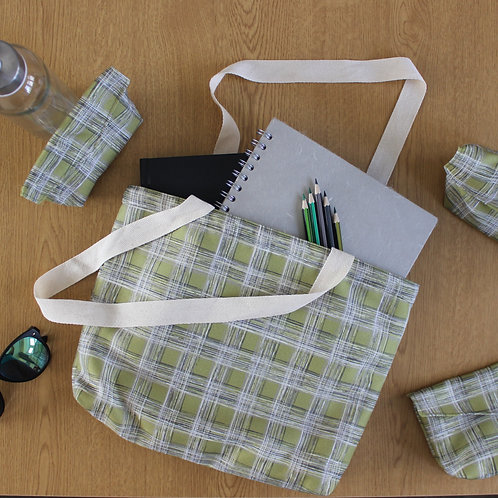 Tote Bag - Lime Green Check - Fully Lined