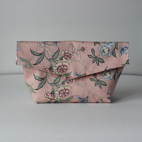 Large Popper Pouch - Vintage Pink Floral