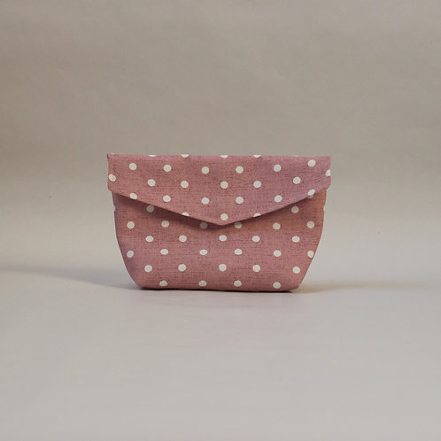 Medium Popper Pouch - Baby Pink & White Spot
